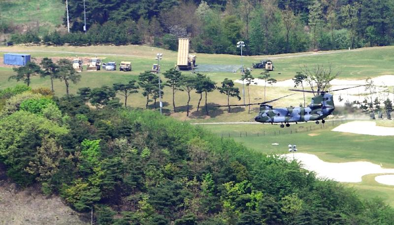 US THAAD missile defence equipment being set up at a former golf course in South Korea's Seongju county in April. US troops began delivering the missile defence system that has infuriated China amid heightened tensions over the North's nuclear ambitions. (AFP Photo/STR)