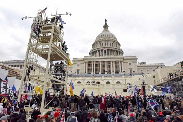 PHOTO: Supporters of President Donald Trump gather in front of the U.S. Capitol Building in Washington, Jan. 6, 2021.  (Stephanie Keith/Reuters)