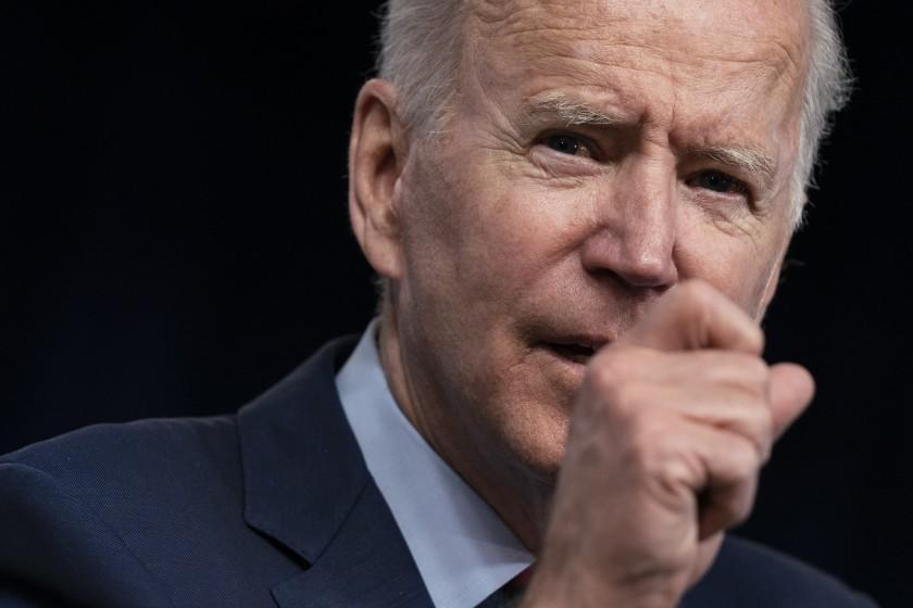 President Joe Biden speaks during an event on the American Jobs Plan in the South Court Auditorium on the White House campus.
