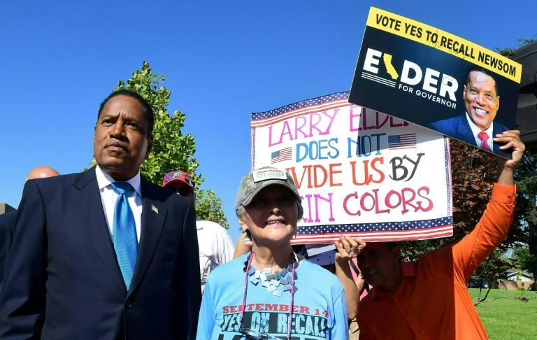 Newsom's main challenger is Larry Elder, a right-wing talk radio star who has openly supported controversial former president Donald Trump (AFP/Frederic J. BROWN)