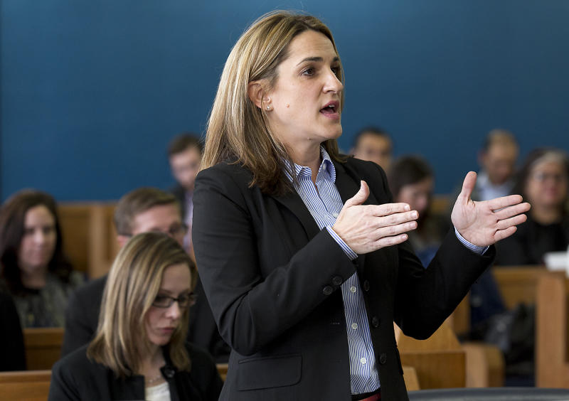 State District Attorney Shelley Dahlberg addresses the court during opening statements in the Texas school finance trial, Tuesday, Jan. 21, 2014, in Austin, Texas. The trial re-opened after a year hiatus so that the judge could collect evidence in light of last year's legislative changes. Opening statements from the school district plaintiff groups and the state kicked off proceedings that could last three to four weeks in Judge John K. Dietz' courtroom. (AP Photo/Austin American-Statesman, Ralph Barrera) AUSTIN CHRONICLE OUT, COMMUNITY IMPACT OUT, MAGS OUT; NO SALES; INTERNET AND TV MUST CREDIT PHOTOGRAPHER AND STATESMAN.COM .