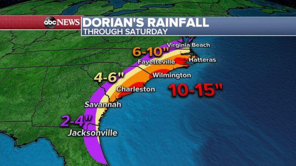 PHOTO: Weather map shows the latest rainfall forecast for Hurricane Dorian. (ABC News)