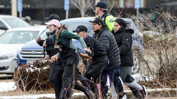 PHOTO: King Soopers employees are led away from an active shooter at the King Soopers grocery store in Boulder, Colo., March 22. 2021. (Michael Ciaglo/usa Today Network via Reuters)