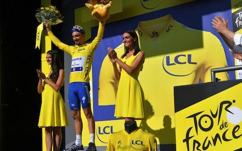 <span>Julian Alaphilippe celebrates on the podium</span> <span>Credit: getty images </span>