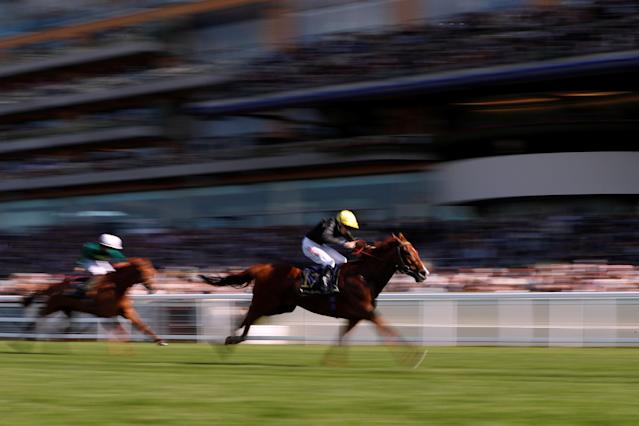 Horse Racing - Royal Ascot - Ascot Racecourse, Ascot, Britain - June 22, 2018 Agrotera ridden by Jamie Spencer wins the 5.00 Sandringham Stakes Action Images via Reuters/Paul Childs