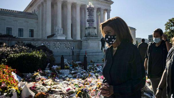 PHOTO: Speaker of the House Nancy Pelosi arrives to pay her respects at the makeshift memorial for Justice Ruth Bader Ginsburg in front of the US Supreme Court, Sept. 20, 2020 in Washington. (Samuel Corum/Getty Images)