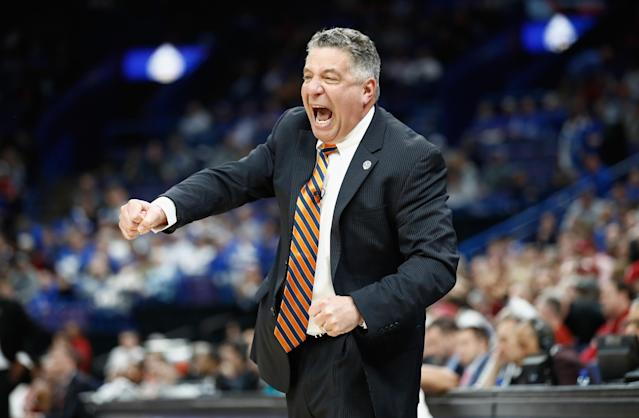 "ST LOUIS, MO – MARCH 09: Head coach Bruce Pearl of <a class=""link rapid-noclick-resp"" href=""/ncaab/teams/abb/"" data-ylk=""slk:Auburn Tigers"">Auburn Tigers</a> reacts during the game against the <a class=""link rapid-noclick-resp"" href=""/ncaab/teams/aaf/"" data-ylk=""slk:Alabama Crimson Tide"">Alabama Crimson Tide</a> in the quarterfinals round of the 2018 SEC Basketball Tournament at Scottrade Center on March 9, 2018 in St Louis, Missouri. (Photo by Andy Lyons/Getty Images)"