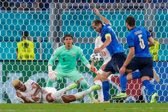 Italy's Giorgio Chiellini, second right, had a goal rightly disallowed for a handball in the build-up