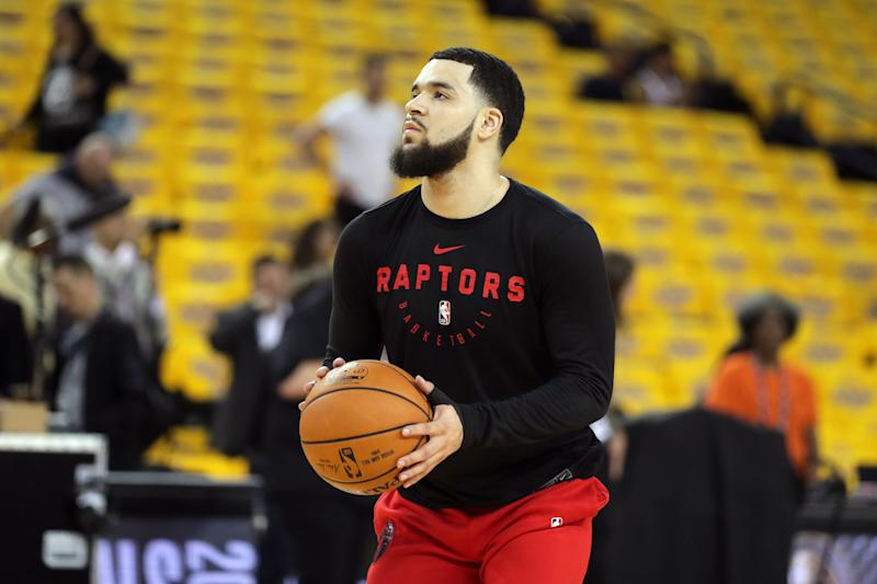 Jun 5, 2019; Oakland, CA, USA; Toronto Raptors guard Fred VanVleet (23) warms up prior to game three of the 2019 NBA Finals against the Golden State Warriors at Oracle Arena. Mandatory Credit: Sergio Estrada-USA TODAY Sports