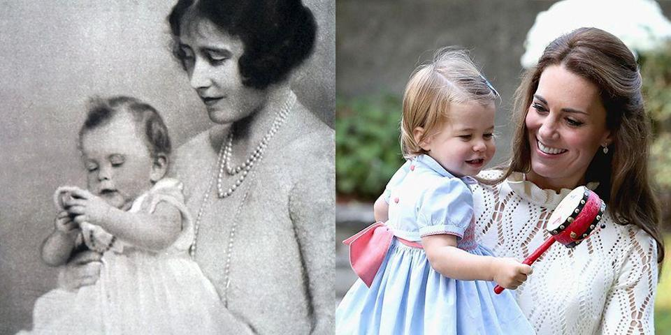 """<p><strong>LEFT: </strong>This late '20s photograph shows <a href=""""https://www.goodhousekeeping.com/life/a26133707/queen-elizabeth-ii-father-king-george-vi/"""" rel=""""nofollow noopener"""" target=""""_blank"""" data-ylk=""""slk:Princess Elizabeth"""" class=""""link rapid-noclick-resp"""">Princess Elizabeth</a><br> with her mother, who was then the Duchess of York. </p><p><strong>RIGHT: </strong>A candid taken during their <a href=""""https://www.goodhousekeeping.com/life/entertainment/news/g4090/royal-family-moments-pictures-2016/"""" rel=""""nofollow noopener"""" target=""""_blank"""" data-ylk=""""slk:royal tour of Canada in 2016"""" class=""""link rapid-noclick-resp"""">royal tour of Canada in 2016</a> shows Catherine, Duchess of Cambridge and Princess Charlotte sharing a sweet moment. </p>"""