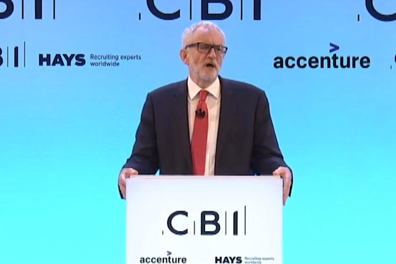 Jeremy Corbyn speaking at the CBI event on Monday (Sky News)