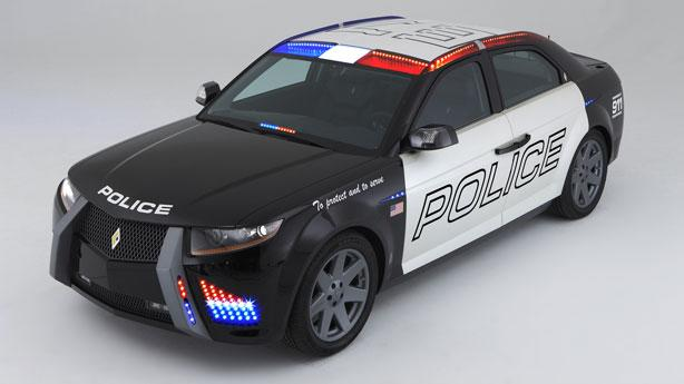 The Cop car of the future, Carbon Motors' rear-wheel-drive E7 police vehicle will be powered by a Forced Induction Diesel engine that will deliver 250 horsepower, said Stacy Stephens, Carbon Motors' co-founder.