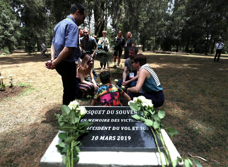 FILE PHOTO: A monument for the victims of the Ethiopian Airlines Flight ET302 Boeing 737 Max plane crash is seen during a memorial ceremony at the French Embassy in Addis Ababa