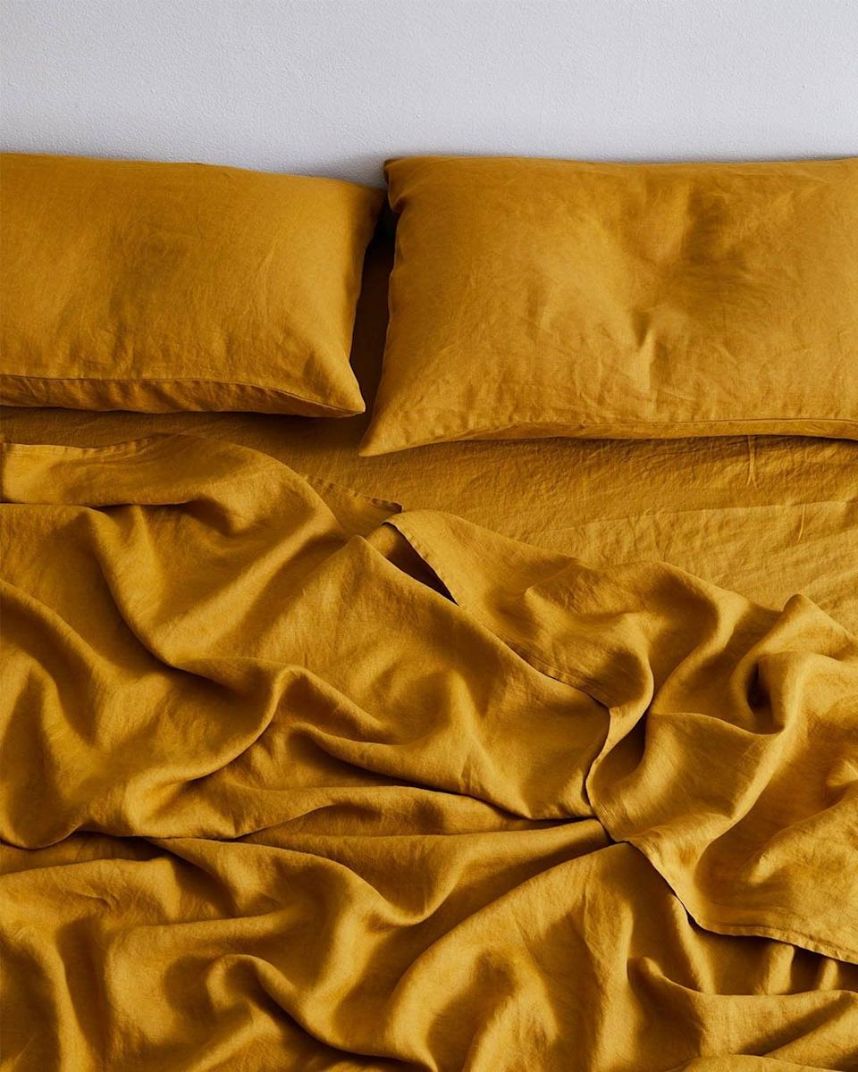 <p>You can count on this colorful <span>Bed Threads Turmeric 100% Flax Linen Fitted Sheet</span> ($80 - $130) for some restful sleep, thanks to its relaxed feel, fresh and luxurious finish.</p>