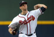 Atlanta Braves pitcher Alex Wood delivers to the Cleveland Indians during the first inning of a baseball game at Turner Field, Tuesday, Aug. 27, 2013, in Atlanta. (AP Photo/David Tulis)