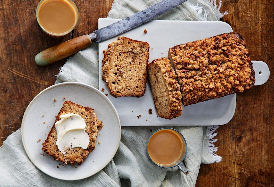 "<p><strong>Recipe: </strong><a href=""https://www.southernliving.com/recipes/apple-butter-pecan-quick-bread"" rel=""nofollow noopener"" target=""_blank"" data-ylk=""slk:Apple Butter-Pecan Quick Bread"" class=""link rapid-noclick-resp""><strong>Apple Butter-Pecan Quick Bread</strong></a></p> <p>We saw more readers make this recipe than any of the other recipes using our <a href=""https://www.southernliving.com/recipes/slow-cooker-apple-butter"" rel=""nofollow noopener"" target=""_blank"" data-ylk=""slk:Slow-Cooker Apple Butter"" class=""link rapid-noclick-resp"">Slow-Cooker Apple Butter</a>. Delicious with your morning cup of coffee (warmed, with a pat of butter!) or after a meal, this bread smells and tastes like everything you love about fall baking.</p>"
