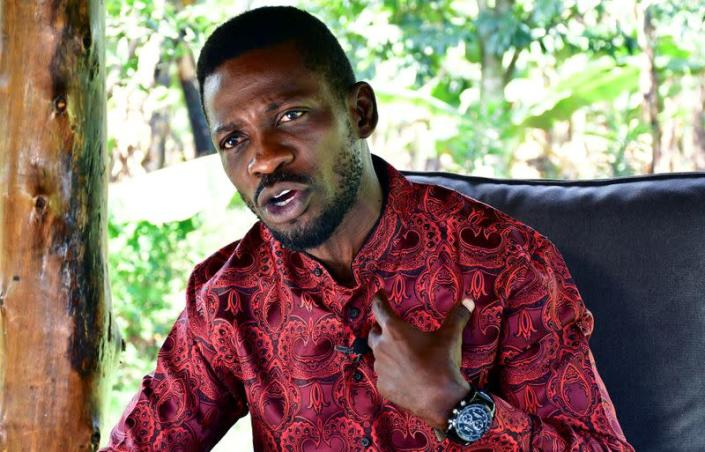 Ugandan opposition presidential candidate Robert Kyagulanyi, also known as Bobi Wine, talks during an interview with Reuters at his home in Magere