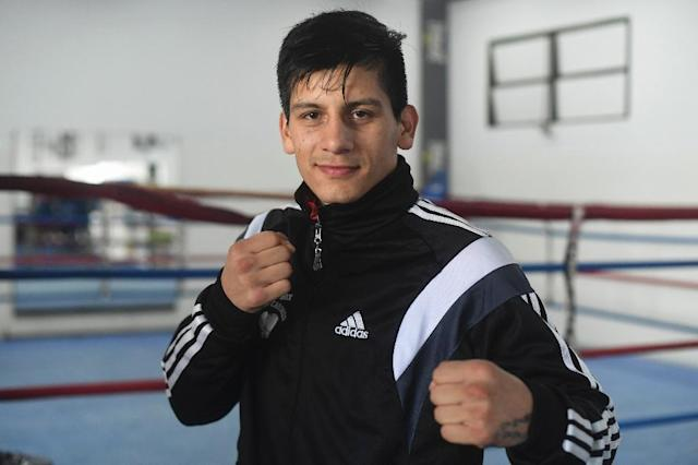 Argentine boxer Brian Arregui poses ahead of the Youth Olympics in Buenos Aires, on October 1, 2018 (AFP Photo/EITAN ABRAMOVICH)