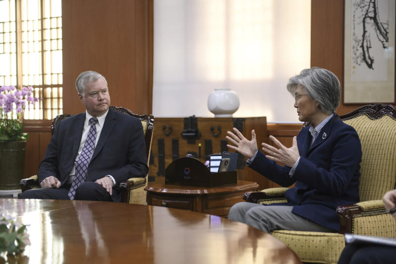 U.S. Special Representative for North Korea Stephen Beigun, left, listens to South Korean Foreign Minister Kang Kyung-wha during their meeting at Foreign Ministry in Seoul Saturday, Feb. 9, 2019. Beigun returned from three days of talks in Pyongyang, North Korea, before the second summit between U.S. President Donald Trump and North Korean leader Kim Jong Un in Vietnam later this month. (Ed Jones/Pool Photo via AP)