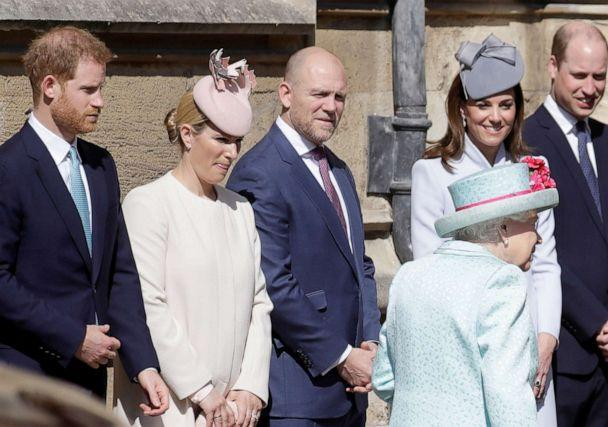PHOTO: Queen Elizabeth, Catherine, Duchess of Cambridge, Prince William, Prince Harry, Zara Phillips and Mike Tindall arrive at the Easter Mattins Service at St. George's Chapel in Windsor, Britain, April 21, 2019. (Kirsty Wigglesworth/Pool/Reuters)