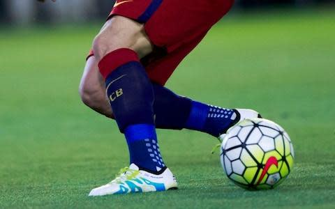 <span>Luis Suarez has also worn TRUsox while playing for Barcelona</span> <span>Credit:  Gonzalo Arroyo Moreno/Getty Images </span>