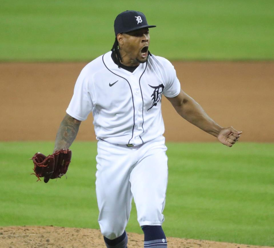 Detroit Tigers reliever Gregory Soto (65) reacts after getting the final out the New York Yankees during ninth inning action Friday, May 28, 2021, at Comerica Park in Detroit Mich.