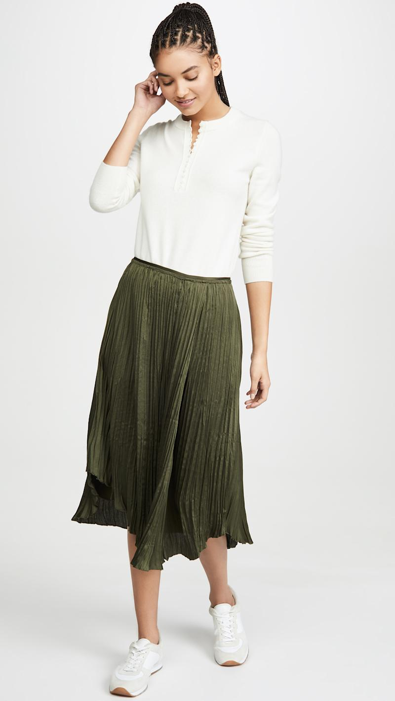 Vince Crushed Drape Skirt in mineral pine