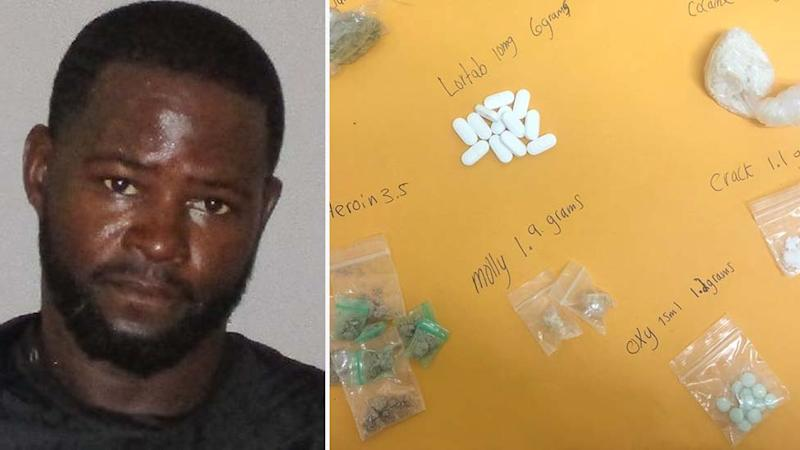 Florida man Derick McKay, left, allegedly hid the drugs pictured on the right in his buttocks.