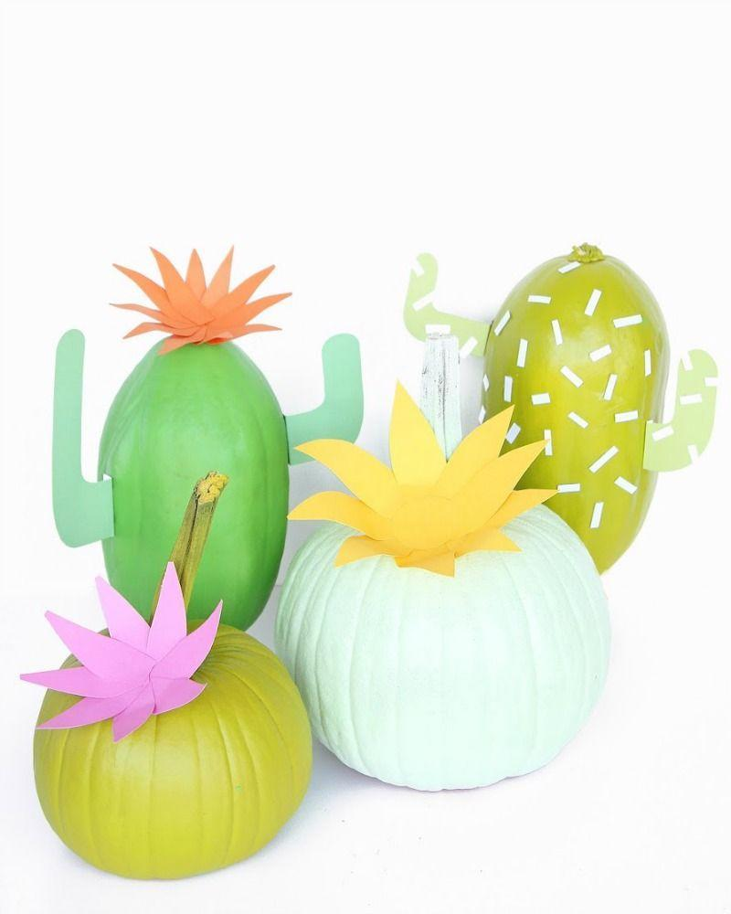 """<p>An ode to the hot days of summer, these pumpkins-turned-cacti bring back a little desert-inspired warmth to your Halloween. The hardest part of this project is choosing which shade of green paint to use (we're partial to the mint).</p><p><em><a href=""""http://www.awwsam.com/2015/09/diy-cactus-pumpkins.html#.VgwtprRVhBe"""" rel=""""nofollow noopener"""" target=""""_blank"""" data-ylk=""""slk:Get the tutorial at Aww Sam »"""" class=""""link rapid-noclick-resp"""">Get the tutorial at Aww Sam »</a></em></p>"""
