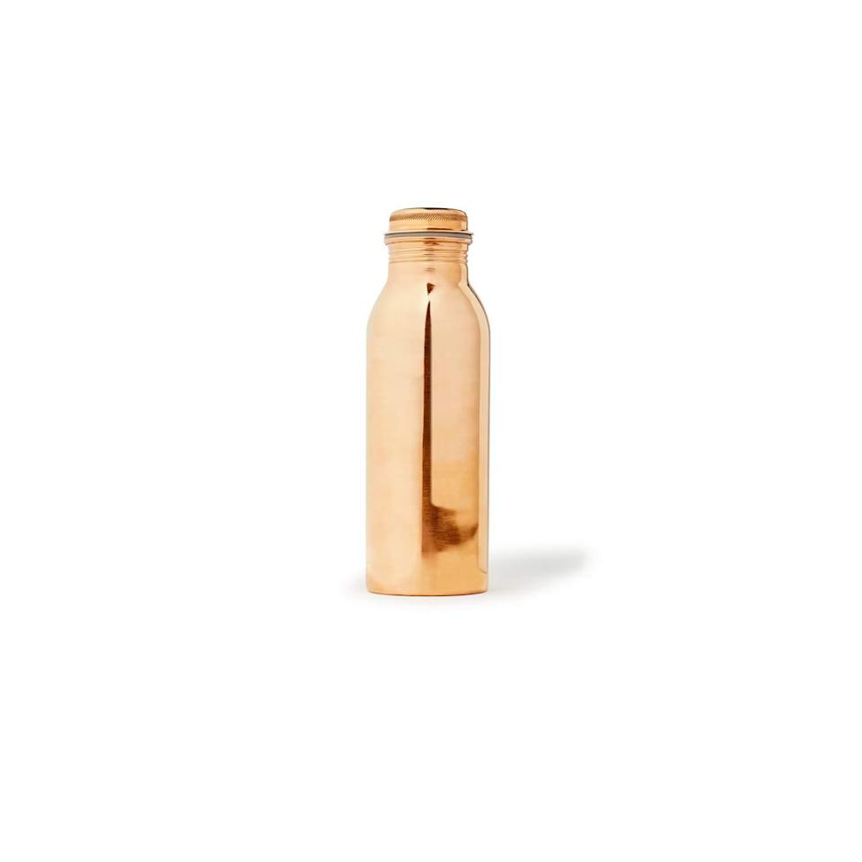 """<ul> <li><i><span><a rel=""""nofollow noopener"""" href=""""https://www.filson.com/copper-water-bottle.html"""" target=""""_blank"""" data-ylk=""""slk:Copper Water Bottle,"""" class=""""link rapid-noclick-resp"""">Copper Water Bottle,</a> </span></i><i><span>$40</span></i></li> </ul> <span>While it might be convenient to buy a plastic water bottle while you're out and about, plan ahead and bring a <a rel=""""nofollow noopener"""" href=""""https://www.sunset.com/lifestyle/wellness/cool-water-bottles"""" target=""""_blank"""" data-ylk=""""slk:reusable water bottle"""" class=""""link rapid-noclick-resp"""">reusable water bottle</a> along instead. This brushed copper beauty has naturally occurring anti-bacterial properties to keep you healthy and hydrated. It will be a conversation piece every time you take it out for a sip. </span>"""