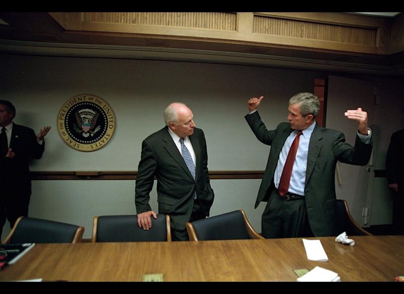 "At 9:36 a.m., Secret Service agents <a href=""http://timeline.national911memorial.org/#/Explore/2"" target=""_hplink"">evacuated</a> Vice President Dick Cheney and his aides from his office to the Presidential Emergency Operations Center, a Cold War-era bunker beneath the White House."