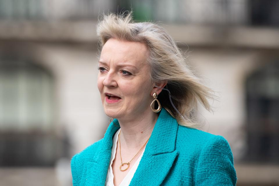 International Trade Secretary Liz Truss is interviewed for the Sophy Ridge on Sunday show outside BBC Broadcasting House in central London before appearing on the BBC1 current affairs programme, The Andrew Marr Show. Picture date: Sunday April 25, 2021.