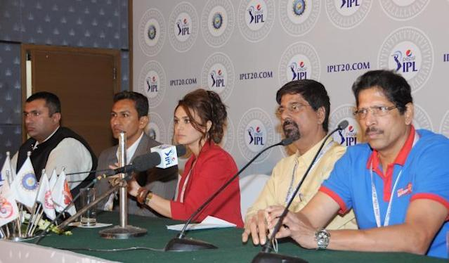 IPL Chairman Ranjib Biswal, Krishnamacharya Srikanth of Chennai Super Kings, member of Delhi Daredevil`s team management Thirumalai Sekhar and actress Preity Zinta one of the owners at Kings XI Punjab during the two-day player auctions for the seventh edition of the Indian Premier League(IPL) in Bangalore on Feb.12, 2014. (Photo: IANS)
