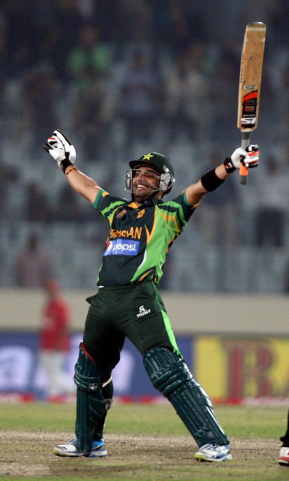 Pakistani player Umar Akmal celebrates after winning the 8th ODI match of Asia Cup against Bangladesh at Shere Bangla National Stadium in Mirpur of Bangladesh on Mar.04 , 2014. (Photo: IANS)