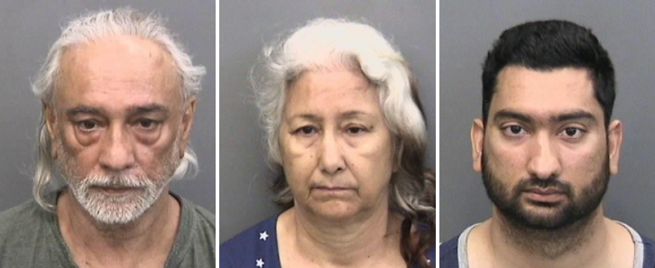 Jasbir, Bhupinder and Devbir Kalsi (left to right) were arrested Saturday on charges of beating and holding Devbir's wife captive. (hcso.fl.gov)