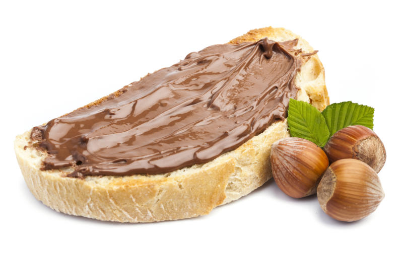Isolated bread with chocolate cream