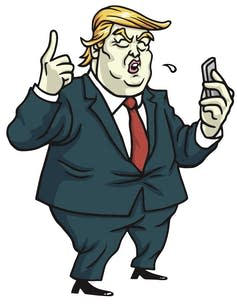 A caricature of US President Donald Trump, who's been known to fire off an angry tweet. Shutterstock