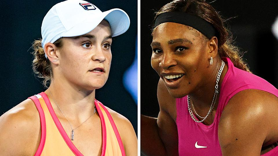 Ash Barty has been denied a chance to face Serena Williams, with the American star withdrawing from the Yarra Valley Classic due to a shoulder issue. Pictures: Getty Images