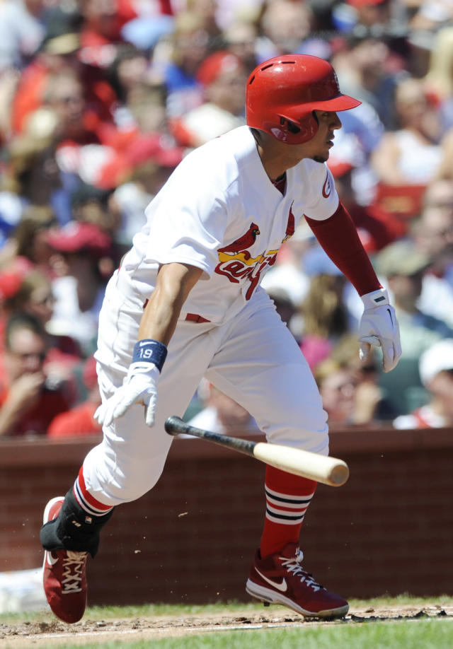 St. Louis Cardinals' Jon Jay watches his RBI-single against the Chicago Cubs in the first inning in a baseball game on Sunday, Aug. 11, 2013, at Busch Stadium in St. Louis. (AP Photo/Bill Boyce)