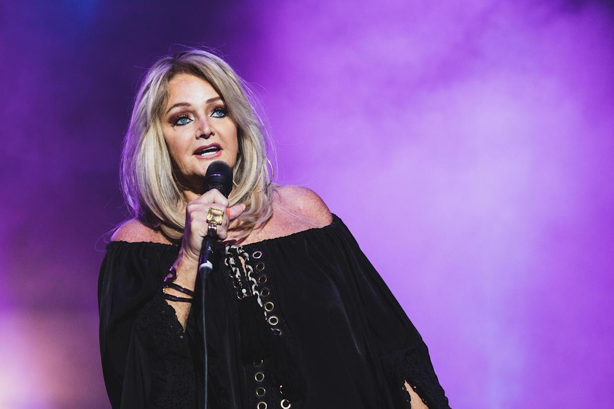 MADRID, SPAIN - JULY 30: Welsh singer Bonnie Tyler performs on stage at Push Play music festival at Hipodromo de Madrid on July 30, 2021 in Madrid, Spain. (Photo by Aldara Zarraoa/Redferns)