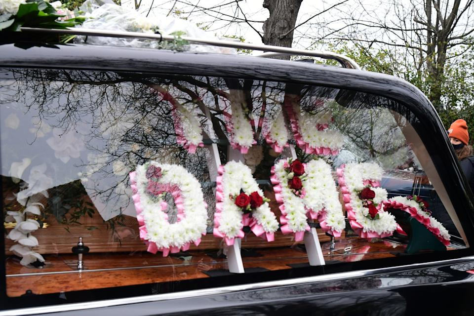 <p>The funeral cortege of Dame Barbara Windsor arriving at Golders Green Crematorium</p> (PA)