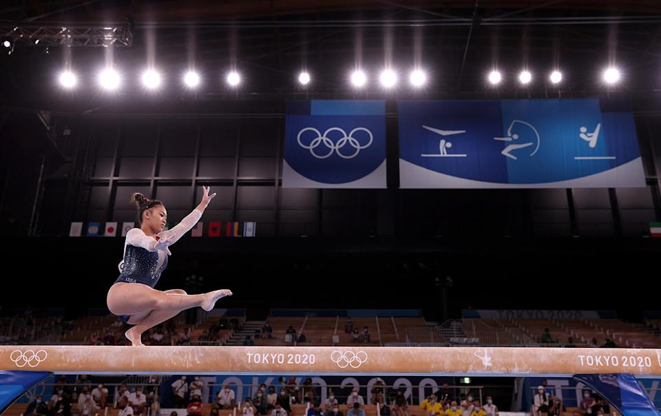 <p>The gold medalist gave a breathtaking performance on the balance beam during day six of the Games at the Ariake Gymnastics Centre.</p>