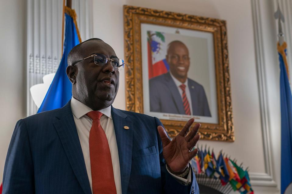 Ambassador Bocchit Edmond speaks of the late Haitian President Jovenel Moïse, during an interview with the Associated Press in his office at the Embassy of Haiti in Washington, Wednesday. (AP)