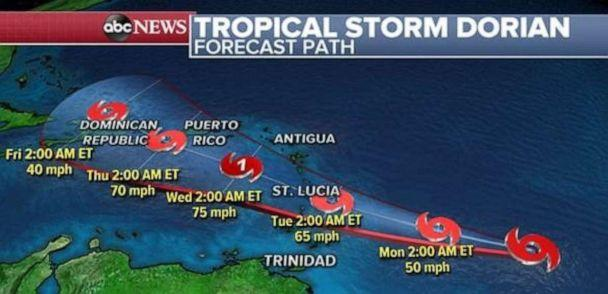 PHOTO: Tropical Storm Dorian will continue heading west toward Lesser Antilles over the next couple of days. (ABC News )