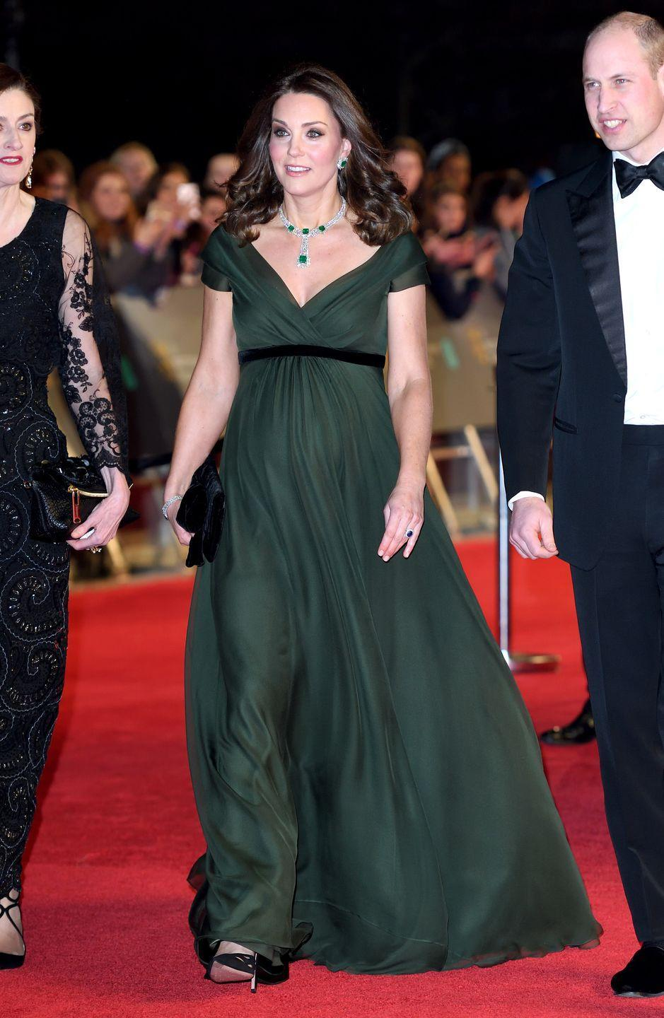 """<p>Though protocol requires Kate to remain impartial on """"political"""" matters, the Duchess showed solidarity to the #MeToo movement by rocking a black sash at the 2018 BAFTAs. </p>"""