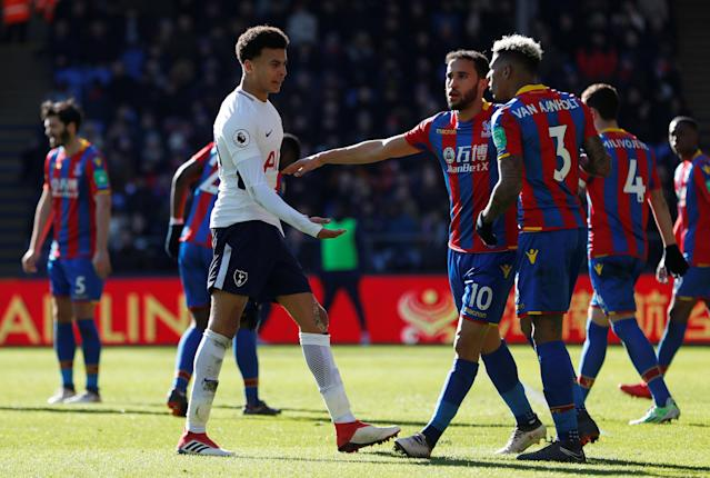 "Soccer Football - Premier League - Crystal Palace vs Tottenham Hotspur - Selhurst Park, London, Britain - February 25, 2018 Tottenham's Dele Alli clashes with Crystal Palace's Patrick van Aanholt as Andros Townsend intervenes Action Images via Reuters/Paul Childs EDITORIAL USE ONLY. No use with unauthorized audio, video, data, fixture lists, club/league logos or ""live"" services. Online in-match use limited to 75 images, no video emulation. No use in betting, games or single club/league/player publications. Please contact your account representative for further details."