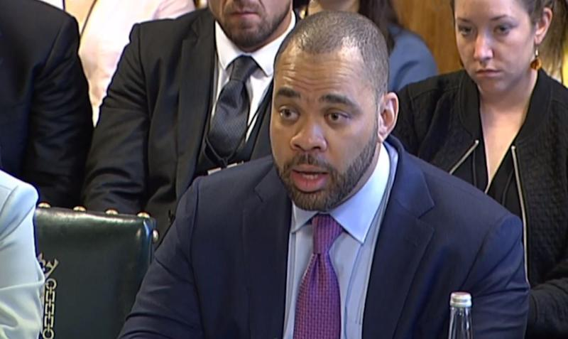 Neil Potts, Public Policy Director at Facebook, giving evidence to the Home Affaiirs Select Committee at the House of Commons, London, on the subject of hate crime and its violent consequences.