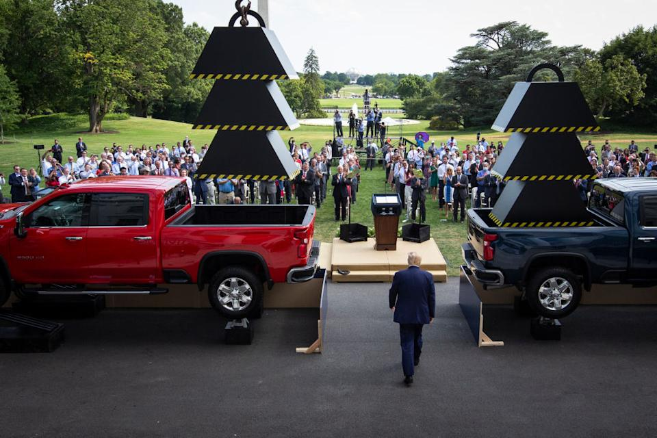 President Donald Trump walks out to the South Lawn of the White House for an event about regulatory reform. Source: Getty