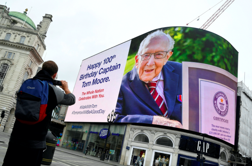 The country came together to celebrate Captain Tom Moore's 100th birthday. (Reuters)