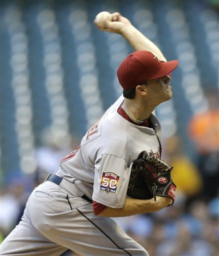 Houston Astros starting pitcher Dallas Keuchel throws to the Milwaukee Brewers during the first inning of a baseball game Tuesday, July 31, 2012, in Milwaukee. (AP Photo/Jeffrey Phelps)